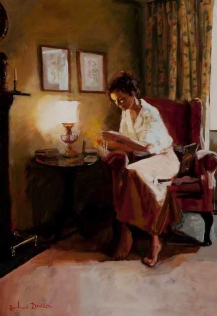 Davidson, Rowland, b.1942; Lady Reading a Book by Lamplight